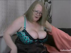 Playing in my blue spotted bra and panties